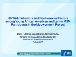 Cover slide from HIV Risk Behaviors and Psychosexual Factors among Young African American and Latino MSM Participants in the Mpowerment Project