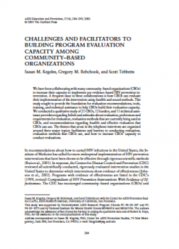 CHALLENGES AND FACILITATORS TO BUILDING PROGRAM EVALUATION CAPACITY AMONG COMMUNITY–BASED ORGANIZATIONS