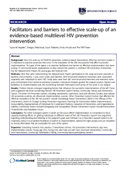 Facilitators and barriers to effective scale-up of an evidence-based multilevel HIV prevention intervention