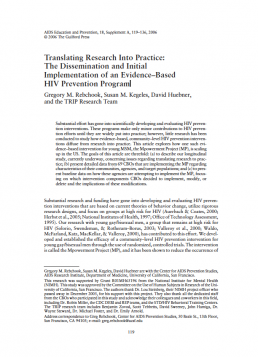 Translating Research Into Practice: The Dissemination and Initial Implementation of an Evidence–Based HIV Prevention Program